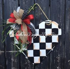 This item is unavailable - barbara schmidt - This item is unavailable Valentines heart door hanger wooden door hanger checker - Valentine Day Wreaths, Valentines Day Decorations, Valentine Day Crafts, Holiday Crafts, Christmas Crafts, Holiday Decor, Her Wallpaper, Xmax, Wooden Door Hangers