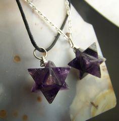 Amethyst crystal stone Merkaba necklace pendant by CoyoteRainbow