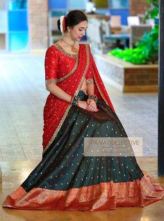 <br> A Road MLA Colony Banjara Hills Hyderabad - <br> Contact : 9160560480 to Half Saree Lehenga, Lehenga Saree Design, Lehnga Dress, Lehenga Designs, Floral Lehenga, Lehenga Gown, Indian Lehenga, Bridal Lehenga, Kerala Saree Blouse Designs