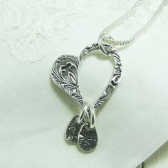 Personalized Open Heart Pendant in Fine Silver, Artisan---thought to try something like this in etched copper