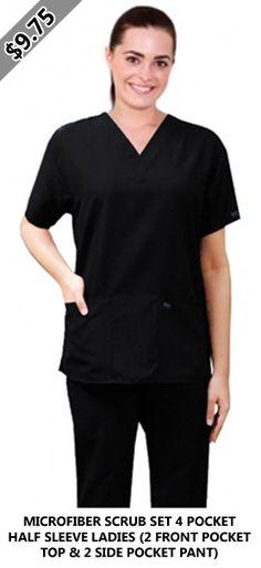 MICROFIBER SCRUB SET 4 POCKET HALF SLEEVE LADIES (2 FRONT POCKET TOP & 2 SIDE POCKET PANT) Scrub Sets, Half Sleeves, Scrubs, Pocket, Lady, Pants, Tops, Fashion, Trouser Pants
