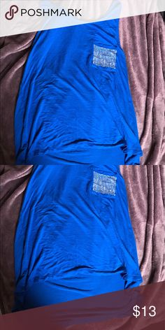 Royal blue diamond pocket tank Worn 1x in new condition royal blue top high low detail size large from forever 21 make offers Forever 21 Tops Tank Tops