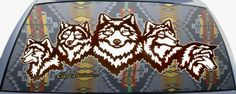 Wolf Heads Native American Indian Art Custom Fit Rear Window Graphic