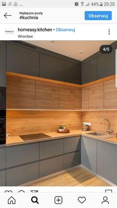 Luxury Kitchen Design, Kitchen Room Design, Kitchen Layout, Home Decor Kitchen, Interior Design Kitchen, Small Modern Kitchens, Kitchen Cupboard Designs, Cuisines Design, Küchen Design