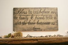 Bless The Food Before Us Kitchen Sign Dining Room Sign Shabby Chic Pallet Sign Rustic Chic Home Decor Distressed Wood Tan Wallhanging Home Decor Wood Wall Art Wall Decor Vintage Wood Sign Rustic Country Handpainted Sign Handmade Sign