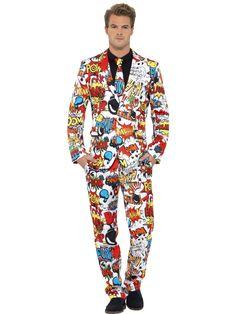 Miesten puku, sarjakuvateema. Takki, housut ja kravatti.