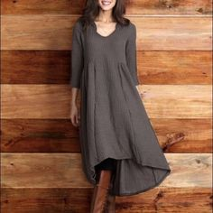 Hi-Lo Ribbed Sweater Dress With Hood.