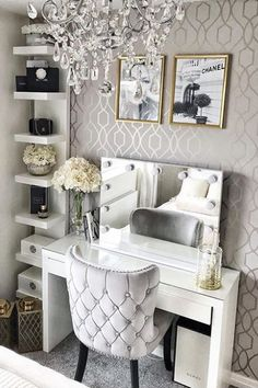 Margonia Chair - Margonia Chair Our Margonia armchair looks perfectly at home here in the bedroom of Featured here in elegant dove grey velvet upholstery. Available in various colourways. Dressing Room Decor, Dressing Room Design, Dressing Table Mirror, Beauty Room Decor, Makeup Room Decor, Makeup Vanity Decor, Makeup Rooms, Glam Room, Home Decor Bedroom