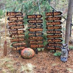 Harry Potter Choose Your Own Sign or Set - Hogwarts Azkaban Hogsmeade Diagon Alley Hagrids Hut Forbidden Forest Directional Cedar Wood Decor