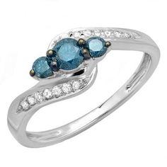 Thanks for Sharing!  1.00 Carat (ctw) 18k White Gold Round Blue And White Diamond Ladies Swirl Engagement 3 Stone Bridal Ring 1 CT - Dazzling Rock #https://www.pinterest.com/dazzlingrock/
