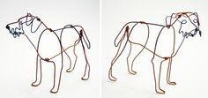 Minimalist Wire Dog Sculptures by Bridget Baker