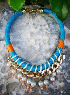 Teal Statement  Rope Necklace / Rope Necklace / Statement Necklace / Summer necklace/ Braided rope necklace/Neon necklace