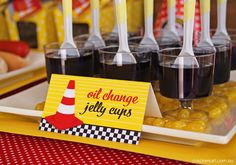 Oil change jelly cups at a Cars Party #cars #partyfood