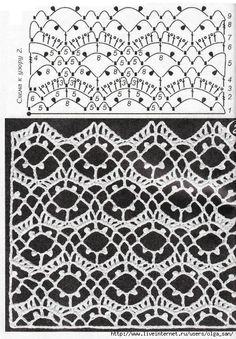 Awesome Knitting Ideas and Newest Knitting Models Crochet Borders, Crochet Diagram, Crochet Stitches Patterns, Crochet Chart, Lace Patterns, Thread Crochet, Filet Crochet, Irish Crochet, Crochet Motif