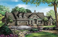 Plan of the Week! Over 2500 sq ft -The Chamberlaine, plan 1253. Multiple angles make this floor plan interesting. With a three-car garage, separate family room, and e-space, this home is efficient while still being luxurious. http://www.dongardner.com/house-plan/1253/the-chamberlaine. #POTW #AngledDesign #FloorPlan
