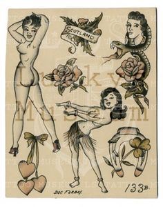 Those dangling hearts—swoon :) /// Doc Forbes - Pin Up Girl Tattoo, Pin Up Tattoos, Body Art Tattoos, Girl Tattoos, Traditional Tattoo Reference, Traditional Tattoo Design, Tattoo Flash Sheet, Tattoo Flash Art, Cameo Tattoo