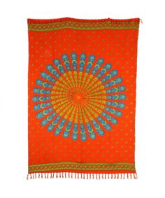 LOUDelephant Mandala Dots Print Viscose Rayon Sarong - Orange