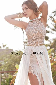 2015 Sexy Lace Prom Dresses New Arrival Applique Chiffon Halter Beaded Crystals Short Side Slit Backless Evening Dresses Gowns-in Evening Dresses from Weddings & Events on Aliexpress.com | Alibaba Group