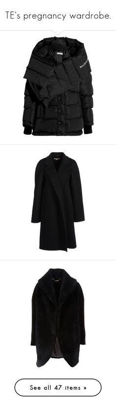 """TE's pregnancy wardrobe."" by floraleona ❤ liked on Polyvore featuring outerwear, coats, jackets, balenciaga, coats & jackets, black, feather down coat, padded coat, feather coat and quilted down coat"