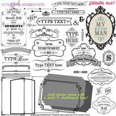 ScrapSimple Embellishment Templates: Retro Solid Text