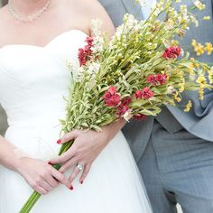 The bride carried a pageant-style bouquet of wildflower-inspired florals.