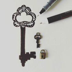 A chave é um elemento mistério desbloqueador de barreiras. // The keys in tales era a solving element. . . . . . #esboço #estórias #contos #chave #key #fairytail #story #traditional #tradição #desenho #sketch #designcultura