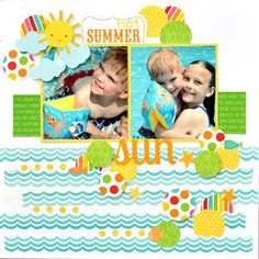 Summer Layout using a variety of products from Doodlebug Design and Pebbles Inc that are featured in the June Creative Kit from My Creative Scrapbook Beach Scrapbook Layouts, Kids Scrapbook, Scrapbook Sketches, Travel Scrapbook, Scrapbooking Layouts, Scrapbook Cards, Scrapbook Designs, Digital Scrapbooking, Kids Pages
