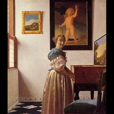 Johannes Vermeer, Donna in piedi alla Spinetta, 1670 - 1673 c.  Bought, 1892, Londra, the National Gallery