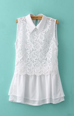 Fashion Women Chiffon Blouse Crochet Lace Turn-down Collar Sleeveless Top Cute Slim Shirt White l white Online Shopping Urban Chic, Mode Vintage, Lace Tops, Pretty Outfits, Dress Patterns, Sleeveless Blouse, Casual Outfits, Clothes For Women, Stylish