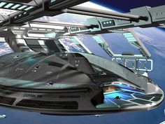 In a few minutes, the Diligent flies away... Diligent by Medjai Drydock by S-Stephen, Max 9 conversion by Starship Modern Workbee by