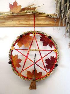 Mabon Fall Pentacle Wreath. Handmade Pagan Wiccan Harvest Autumn Equinox. Handfasting Gift.