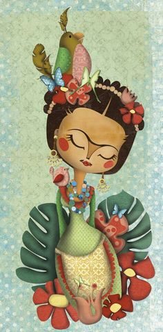 Frida Kahlo Inspired Art by lakisha Diego Rivera, Frida E Diego, Frida Art, Illustrations, Illustration Art, Jace, Art Sculpture, Mexican Folk Art, Decoupage