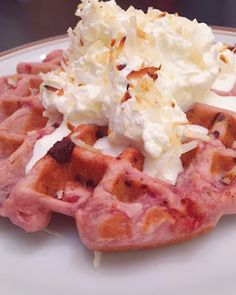 Parks and Rec Gets Waffled: Woman of the Year: Pink Drink Waffle with Chocolate Chips (S2e17)—A blog where every episode of NBC's Parks and Rec gets turned into a waffle recipe  #waffles #wafflerecipe #pinkdrink #chocolatechipwaffles #strawberrywaffles #pinkwaffles #coconutwaffles #parksandrec #parksandrecreation #leslieknope #leslieknopewaffles #ronswanson #nbcparksandrec #feedfeed @thefeedfeed #f52grams #feminism #femininstragram #feministrecipe #girlpower #empowerment #whippedcream…