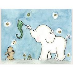 Catch A Falling Star Elephant And Bunny 8x10 by trafalgarssquare via Polyvore