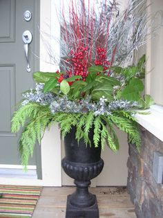 Christmas Decor by the front door.