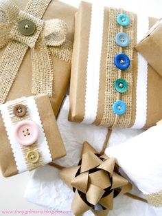 Recycled materials used to wrap beautiful gifts! (Shopgirl blog)