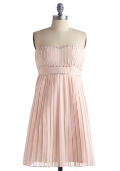 Momentous Moment Dress - Pink, Solid, Pleats, Empire, Strapless, Wedding, Party, Spring, Summer, Mid-length