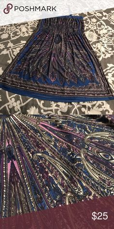 Sundress, beach cover up!! Beautiful spandex sundress/beach cover up. Great shades of blues and purples!!! Elastic band on the top with spaghetti straps. Dresses