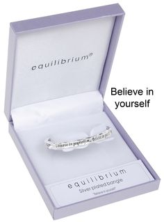 """Silver Plated Inspirational quote bangle """"Believe in yourself"""" by Equilibrium.  In a beautiful gift box.  £12.95"""