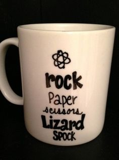I need a sharpie and a dollar tree mug! Big BANG Theory Inspired MUG Rock Paper Scissors Lizard SPOCK by TheMugglyDuckling Big Bang Theory, Bang Bang, The Big Bang Therory, Favorite Tv Shows, Bangs, Coffee Cups, Toffee, At Least, Just For You