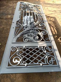 Front Door Design Wood, Front Gate Design, Window Grill Design, House Gate Design, Door Gate Design, Wooden Door Design, Wrought Iron Gate Designs, Wrought Iron Doors, Modern Main Gate Designs