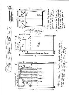Esquema de modelagem de camisa com nervuras tamanho 36.