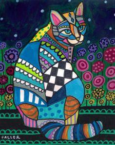 CAT Folk ART PRINT Poster of Painting Flowers by HeatherGallerArt, $24.00