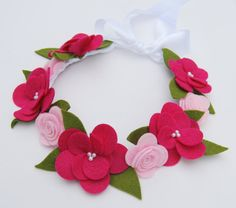Flower Crown Hair Wreath Headband - Felt Flowers - Pink Roses & Magnolias