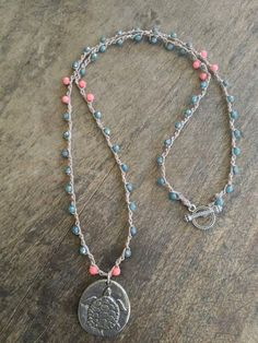 "Sea Turtle Crochet Necklace ""Beach Chic"" Turquoise, Coral, Rustic Silver"