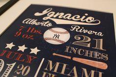 "Customized Vintage Baseball Theme Nursery Print - 8""x10"" - LOVELY LITTLE PARTY. $18.00, via Etsy."