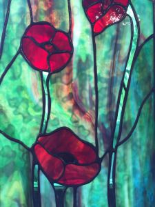 "Stained Glass by Julie Rutherford ""POPPIES"""