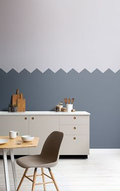 Blue Two Tone Striped Wallpaper Mural Kitchen Wallpaper Murals, Geometric Wallpaper Murals, Striped Wallpaper, Farmhouse Style Kitchen, Modern Farmhouse Kitchens, Toilet Room Decor, Drawing Room Ceiling Design, Bedroom Wall Designs, Wall Colors