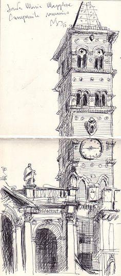 http://sketchsplotch.blogspot.co.uk Pedro ScassaMagione campanile romanico