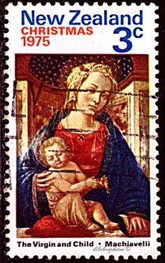 New Zealand.  VIRGIN & CHILD by MACHIAVELLI (1418-1479).  Scott 581 A222, Issued 1975 Oct 1, Photo., Perf. 13 1/2 x 14, 3c. /ldb.